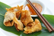 fried wontons and chopsticks